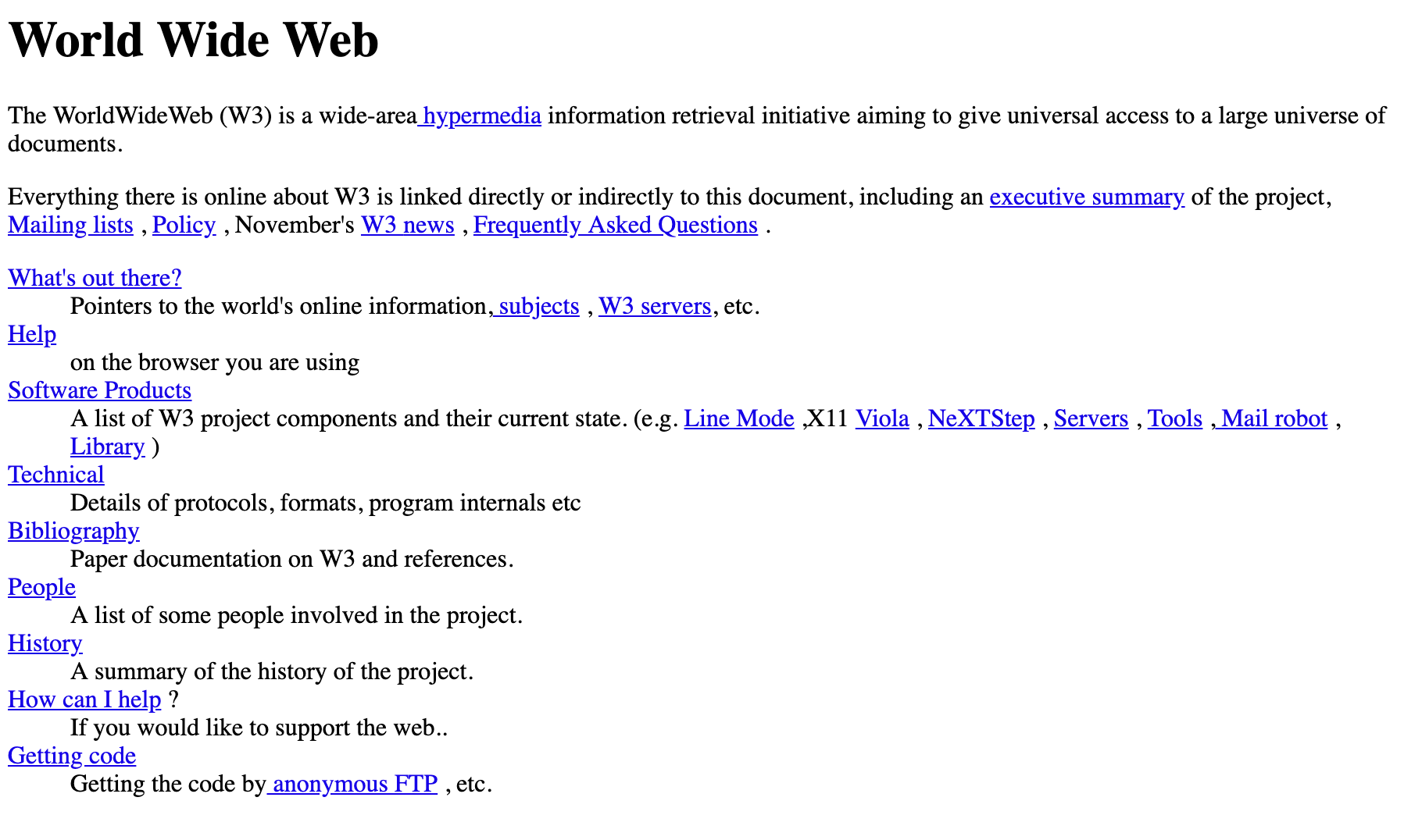 Image of the first internet website created in 1991